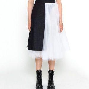 Tulle & Denim Skirt Asymmetrical